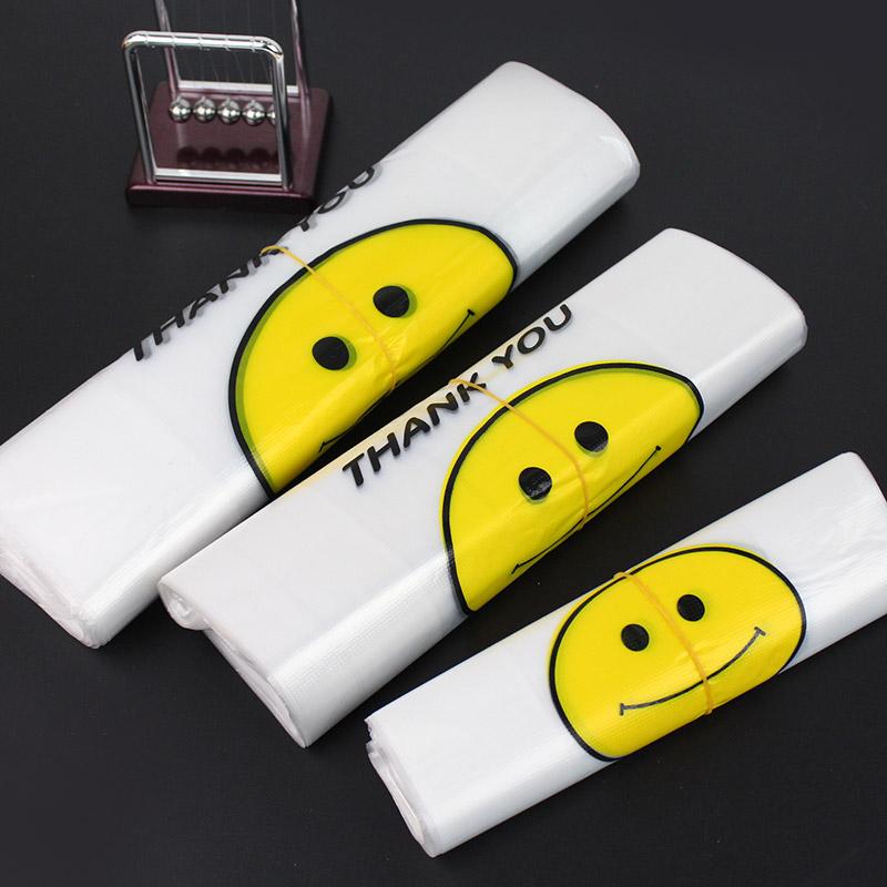 笑脸背心袋马夹塑料包装袋批发定做水果外卖超市手提方便袋子中号