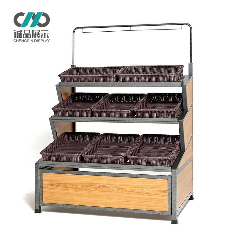 钢木结构带门三层果蔬菜架水果店货架超市便利店展示架子木质加厚