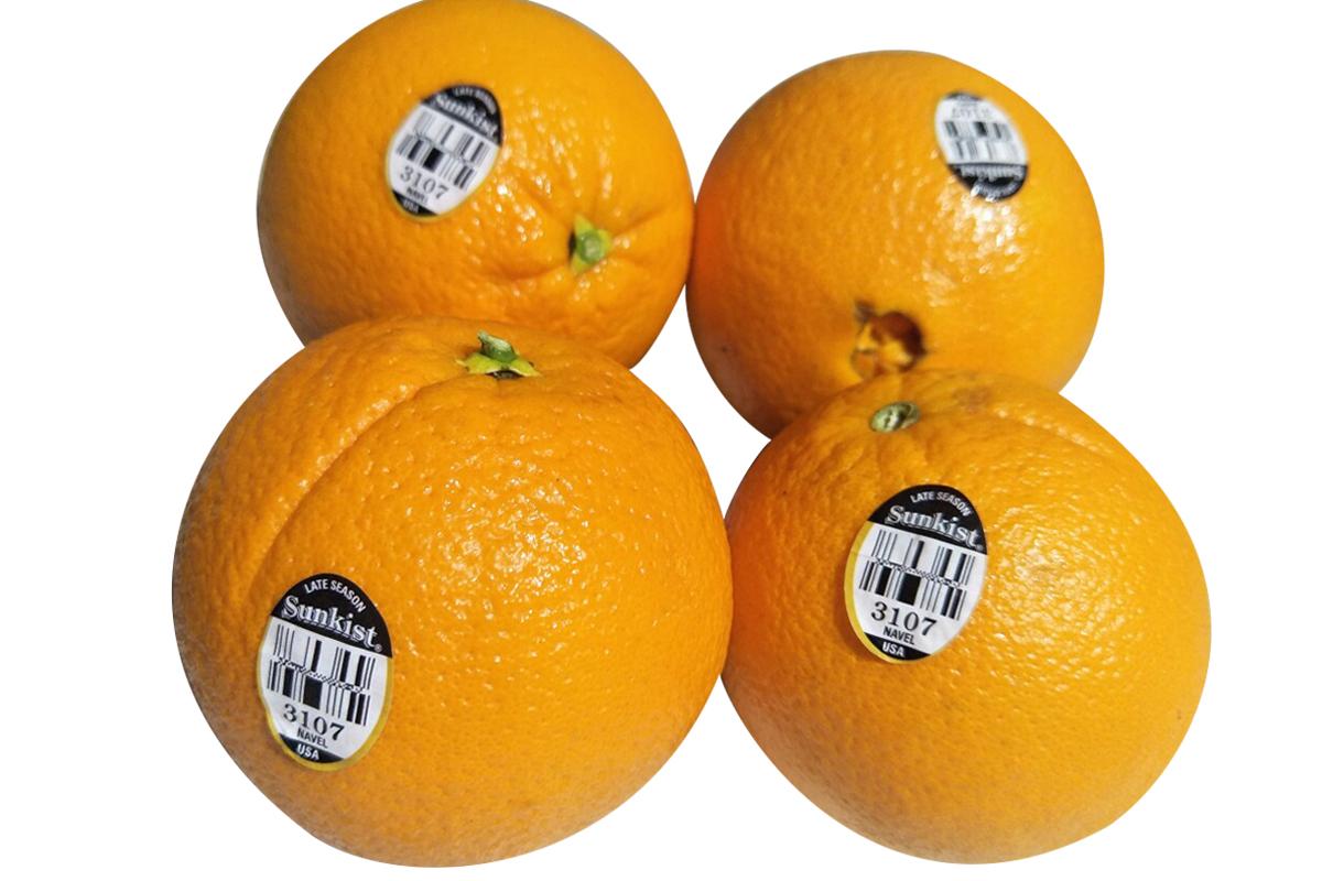 美国新奇士脐橙3107黑标晚橙子10个210g/个新鲜水果进口橙包邮