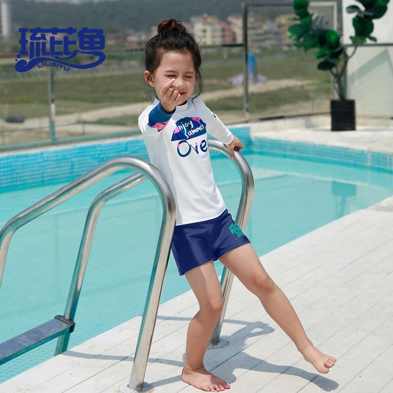 儿童泳衣女分体速干夏季长袖防晒中小童海边冲