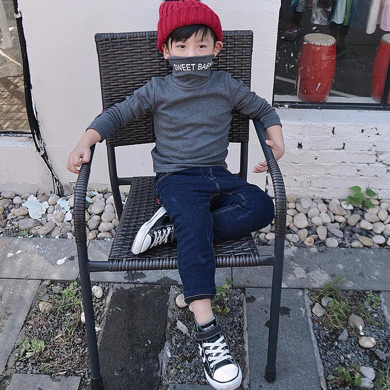 2018秋冬男童中领t恤宝宝加绒打底衫半高领韩版儿童加厚保暖上衣