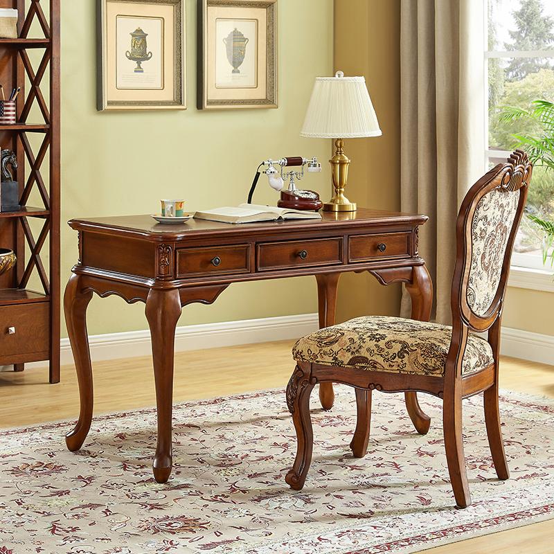 美式实木书桌椅组合家用卧室书房家具欧式小写字台办公桌电脑桌子