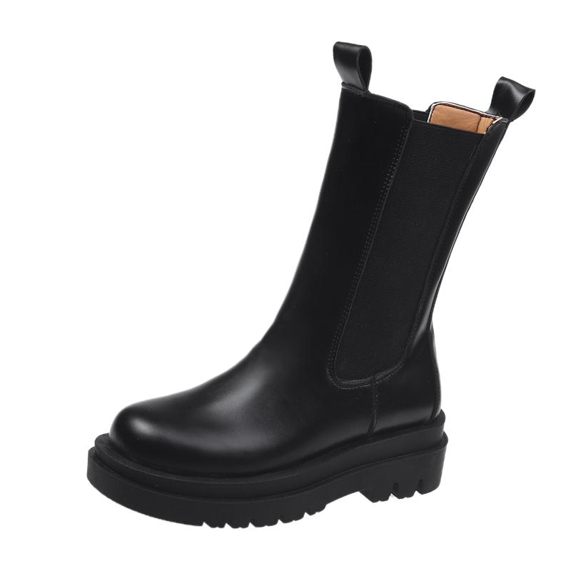 马丁靴加绒女鞋子2021年新款百搭韩版中筒靴厚底短靴女春秋单靴子