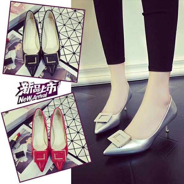 新款黑色漆皮工作鞋單鞋細跟中跟淺口性感女鞋裸色尖頭高跟鞋婚鞋
