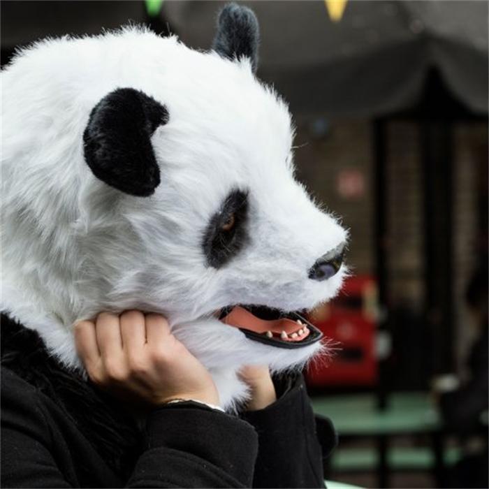 WILDBEAST可爱熊猫头套毛绒面具万圣节道具