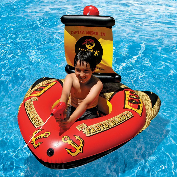 海盜船兒童游泳圈寶寶充氣坐圈水上戲水玩具泳圈帶噴水槍小孩座艇
