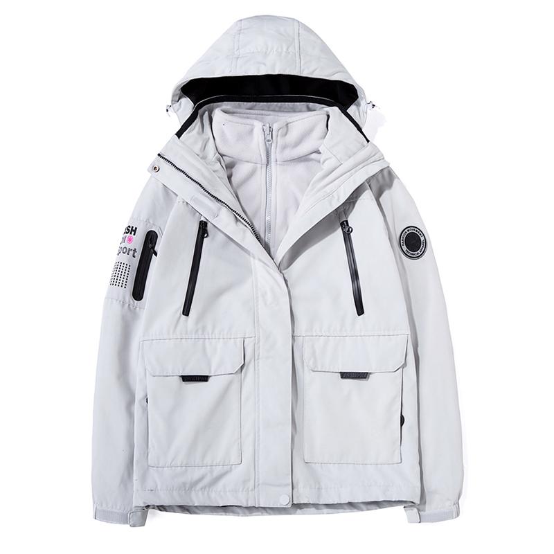 亚特两件套可拆卸冲锋衣男潮牌韩国三合一户外加绒防风滑雪服女