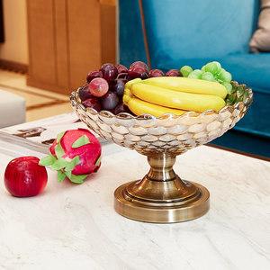 个性欧式宜家新古典装饰器皿家居饰品水晶玻璃水果盘果盘茶几摆件