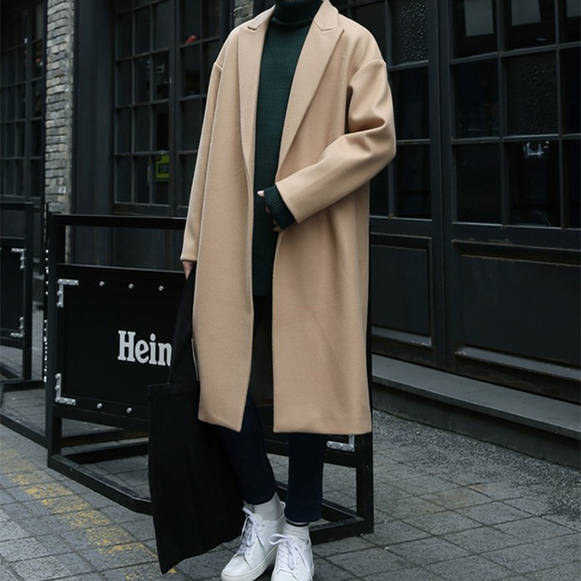 Autumn and winter woolen coat men's long section, knee loose camel, windbreaker male Korean version of the trend cashmere thick woolen coat
