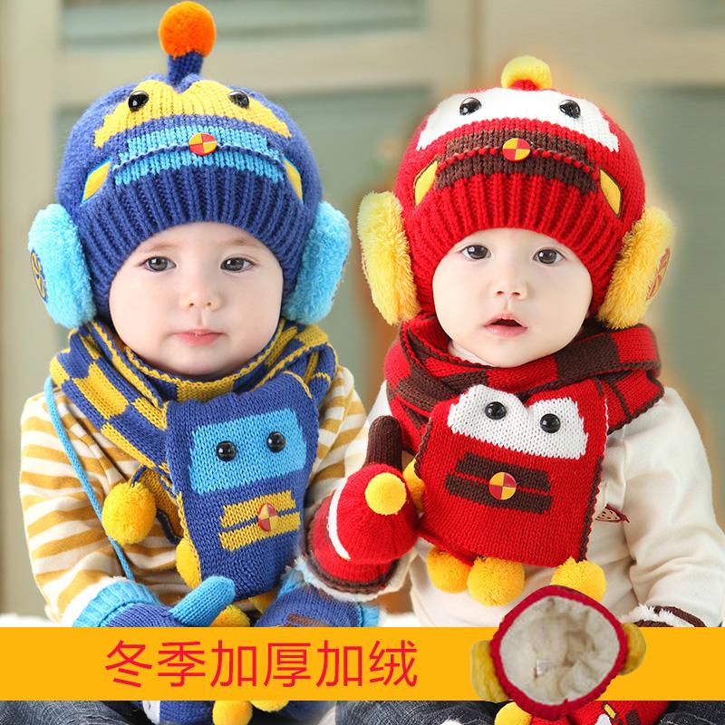韓版男女童寶寶帽子秋冬嬰兒帽子6-12-24個月兒童加絨毛線帽冬天