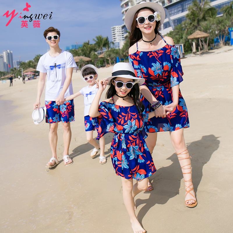 亲子装夏装2018新款潮全家装母子套装海边沙滩一家三口母女连衣裙