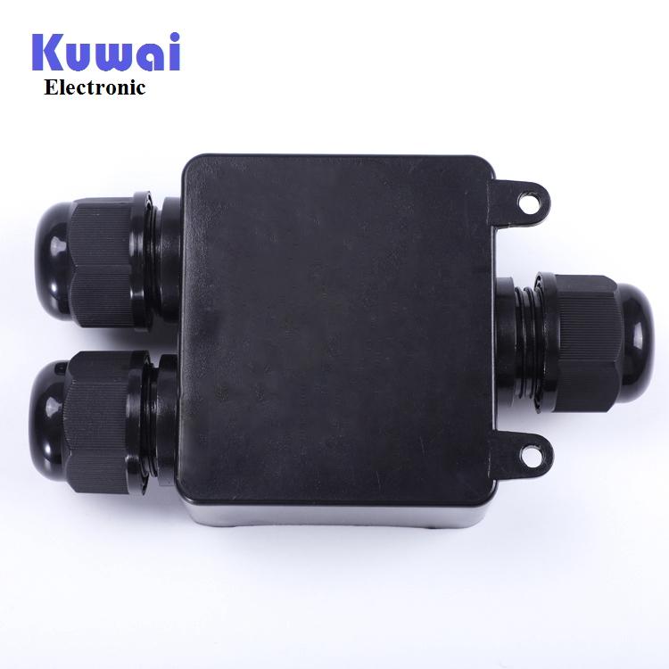 室外防水接线盒三通一进二出 IP68防水等级户外带端子黑色防水盒