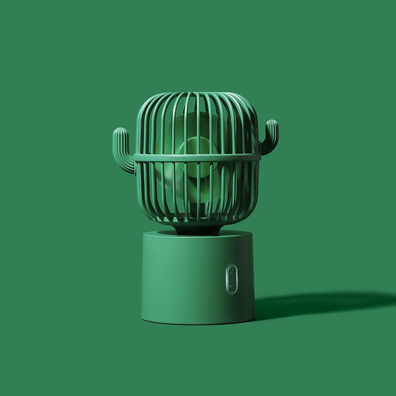 小风扇静音办公室桌上仙人掌usb充电电风扇便携式小型迷你大风力手持学生可爱电池桌面电扇小办公桌风扇摇头