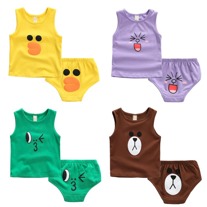 1-2-3-4岁男童宝宝婴幼儿夏季套装 儿童短裤无袖背心女童套装夏装