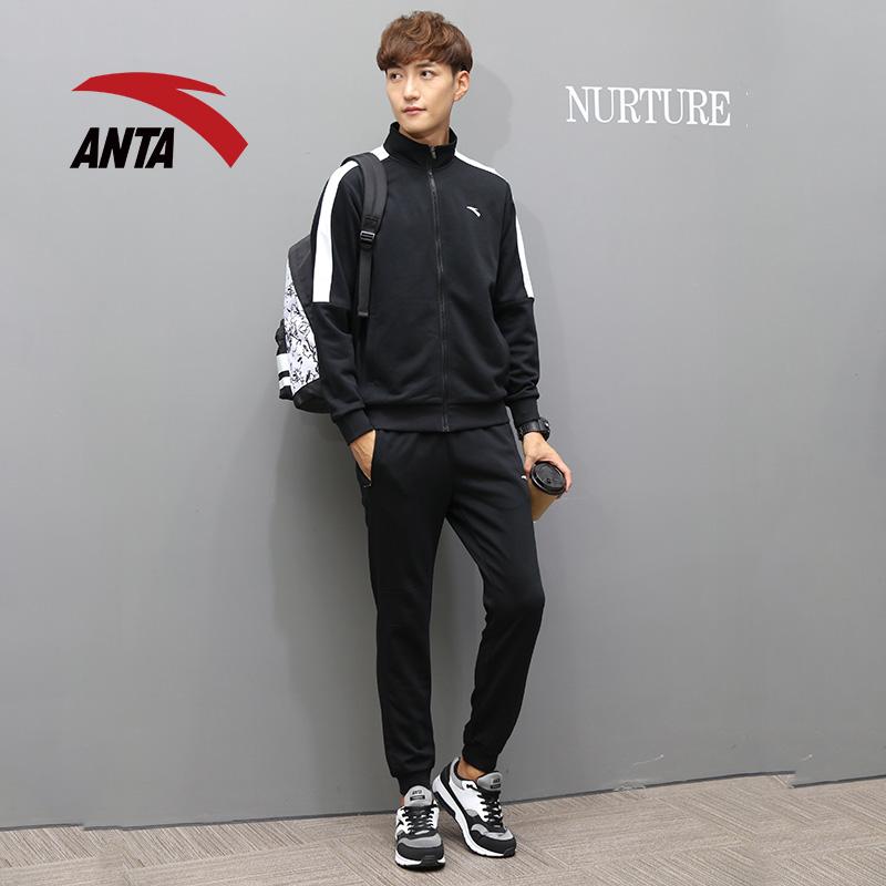 安踏运动套装男2019秋季新款针织立领休闲俩件套跑步长袖外套长裤