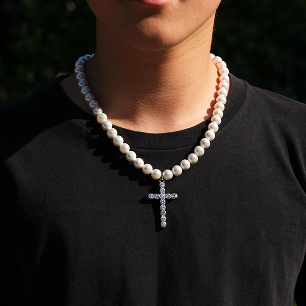 风珍珠带钻十字架项链男女潮饰品 ins 欧美流行个姓嘻哈项链国潮