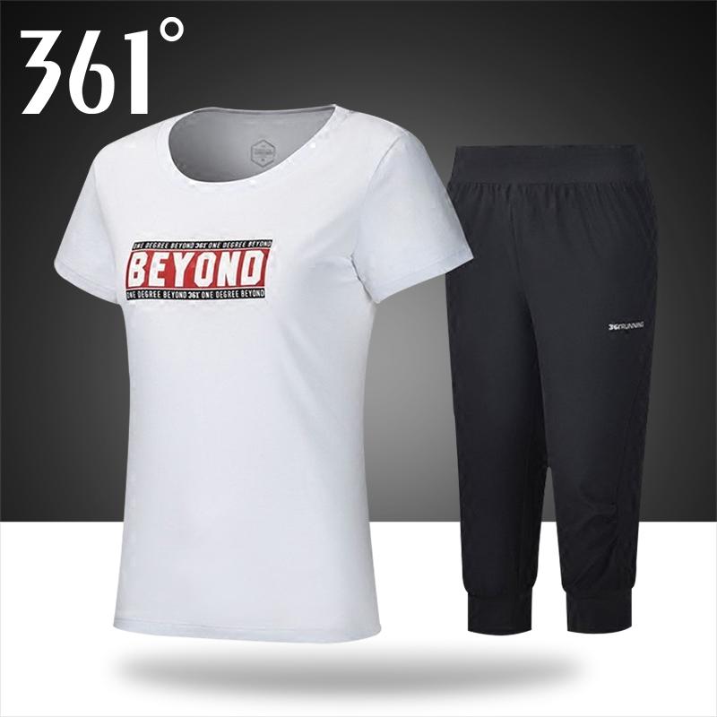 361运动女装 跑步套装春夏季新款短袖T恤女361度运动服女透气短裤