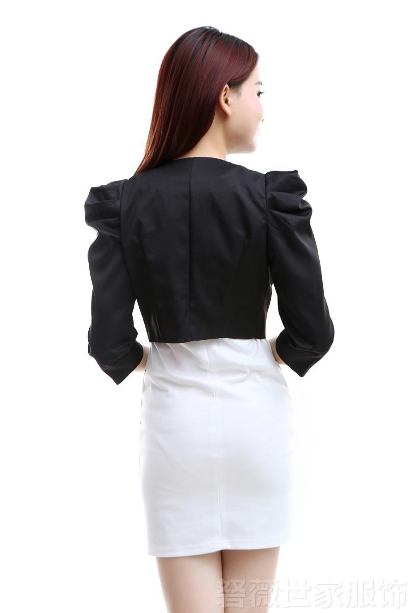 包邮2019春秋新款七分袖短款小外套开衫外搭坎肩西装女小香风外套