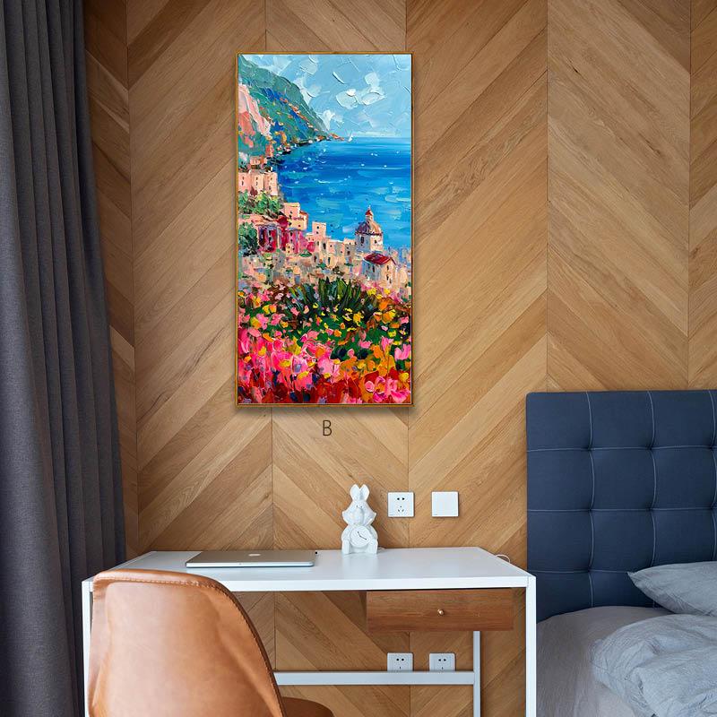 印象斑斕 面朝大海春暖花開 地中海風景手繪油畫 玄關豎版裝飾畫