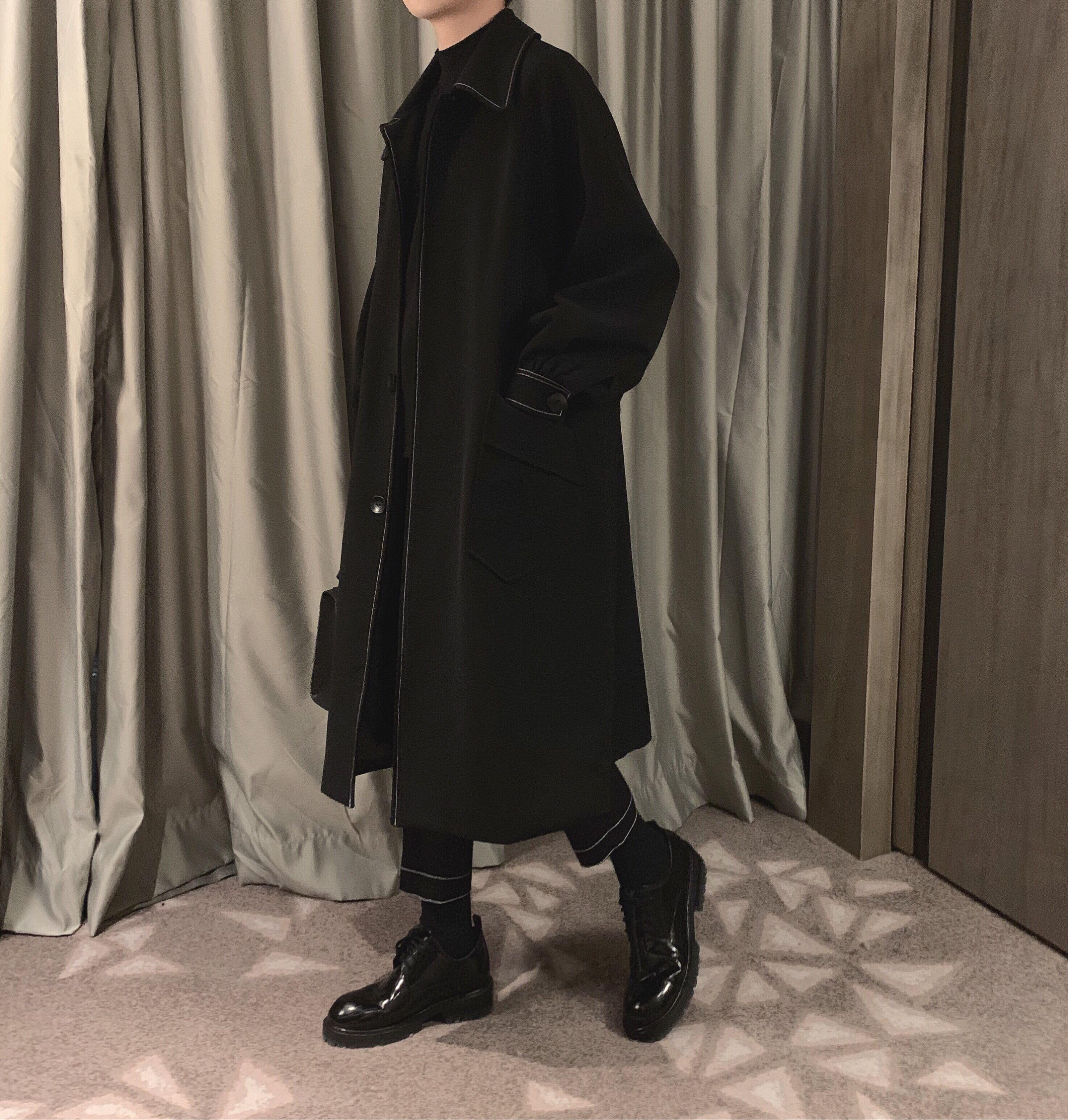 阿茶与阿古暗黑气质明线风衣男韩版中长款潮流帅气过膝外套