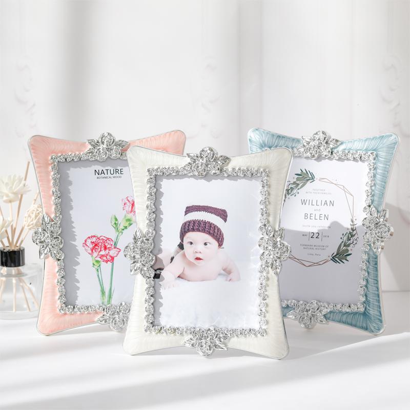 歐式樹脂婚紗影樓擺臺相框經典玫瑰花結婚婚禮6寸7寸現代簡約兒童