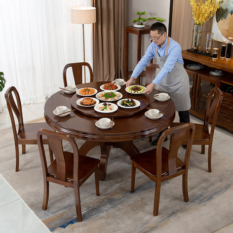 New Chinese Style Solid Wood Large Round Table 10 Person Dining Table 1 6m Dining Table