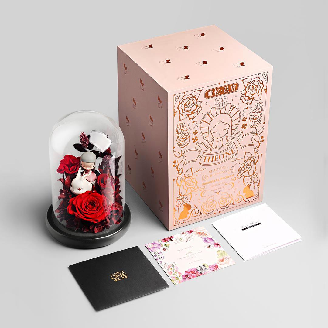 玻璃罩永生玫瑰花,情人节礼物送女友生日礼品