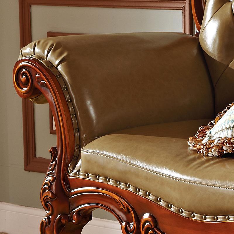 百佳惠美式贵妃榻实木沙发纯桃花心木美人榻手工雕刻头层牛皮518