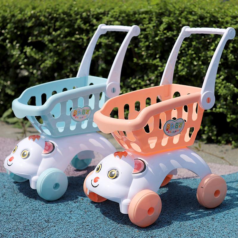 网红儿童购物车玩具女男孩过家家厨房超市手推水果蔬菜切切乐推车