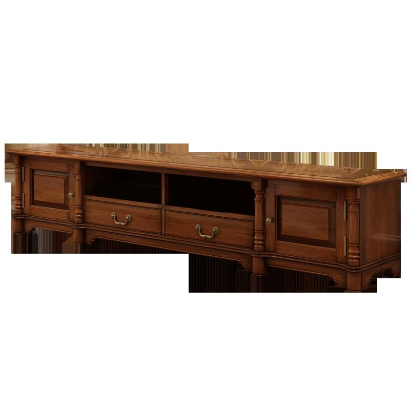 标爵美式电视柜 乡村实木电视柜美式黑胡桃木地柜客厅家具