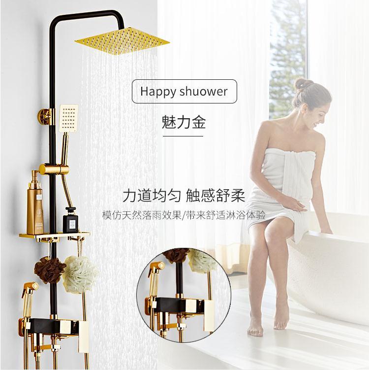 九牧王淋浴花洒套装家用黑金色花洒卫浴全铜增压喷头沐浴欧式淋雨
