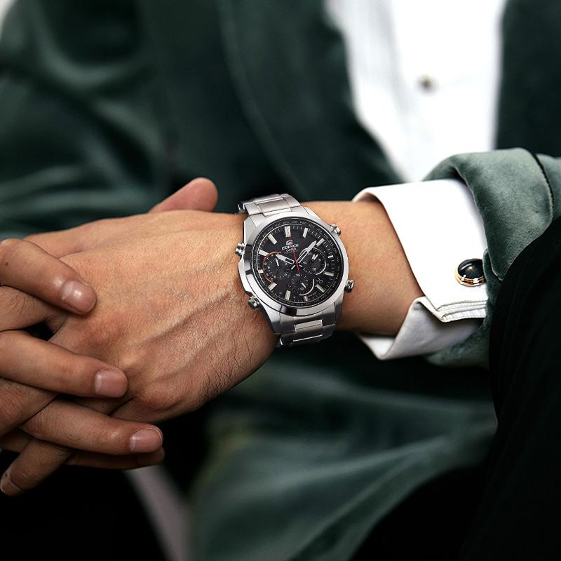 edifice 电波太阳光动能钢铁之心日韩石英腕表 卡西欧男士手表正品