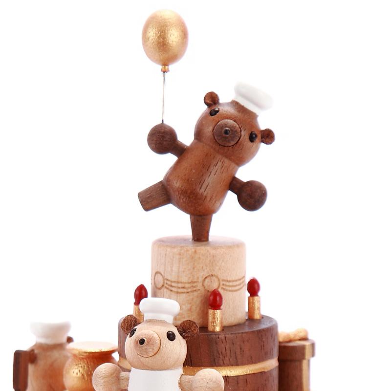 音樂盒八音盒木質送女生女孩兒童生日情人節禮物小熊旋轉 jeancard