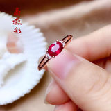 925 sterling silver rose gold plated gemstone ring female simple and fashionable ruby ​​color treasure pigeon blood red