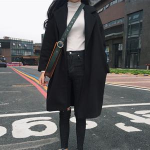 秋冬女装新款韩版中长款百搭一粒扣呢子外套宽松长袖毛呢大衣开衫