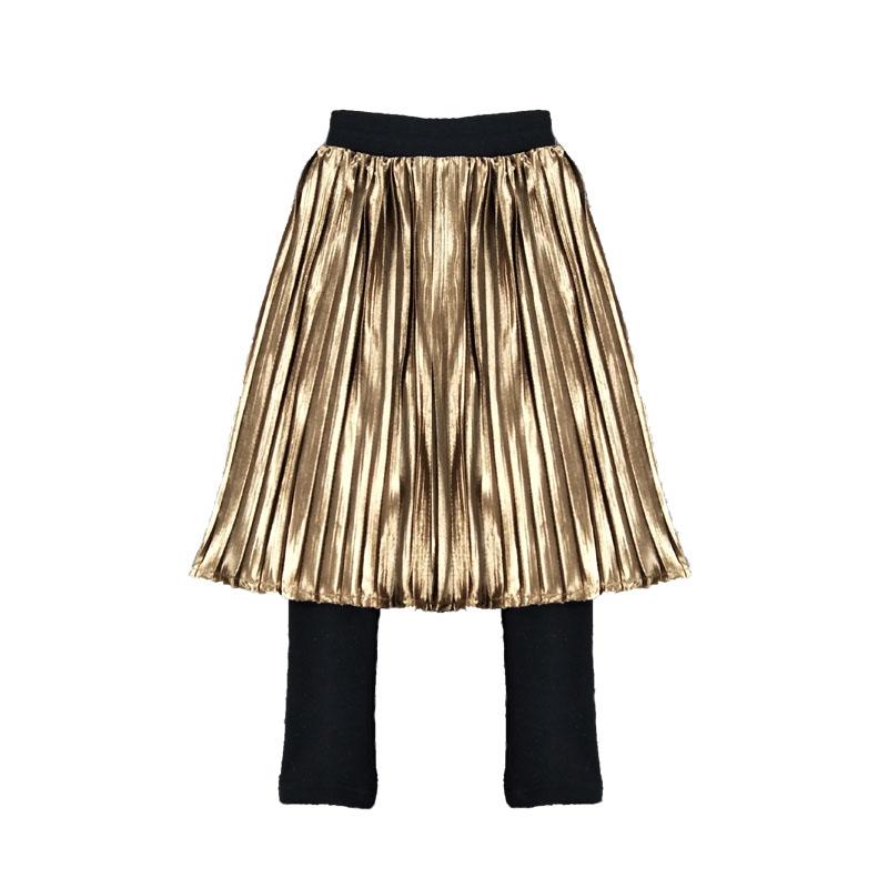 2018秋冬新款女童金丝绒半裙裤洋气儿童百褶半身裙裤韩版风琴裙裤