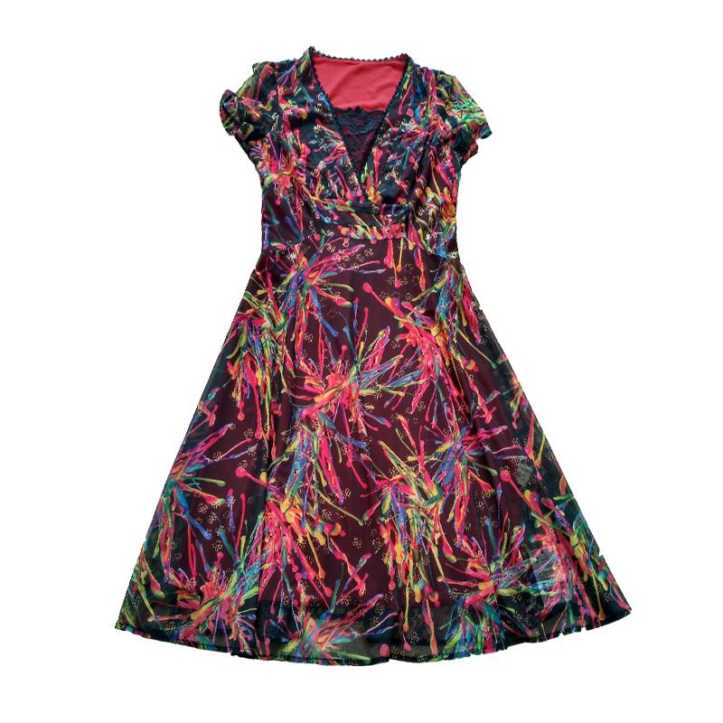 中老年品牌女装折扣店修身大码华 哥弟情短袖高档妈妈真丝连衣裙