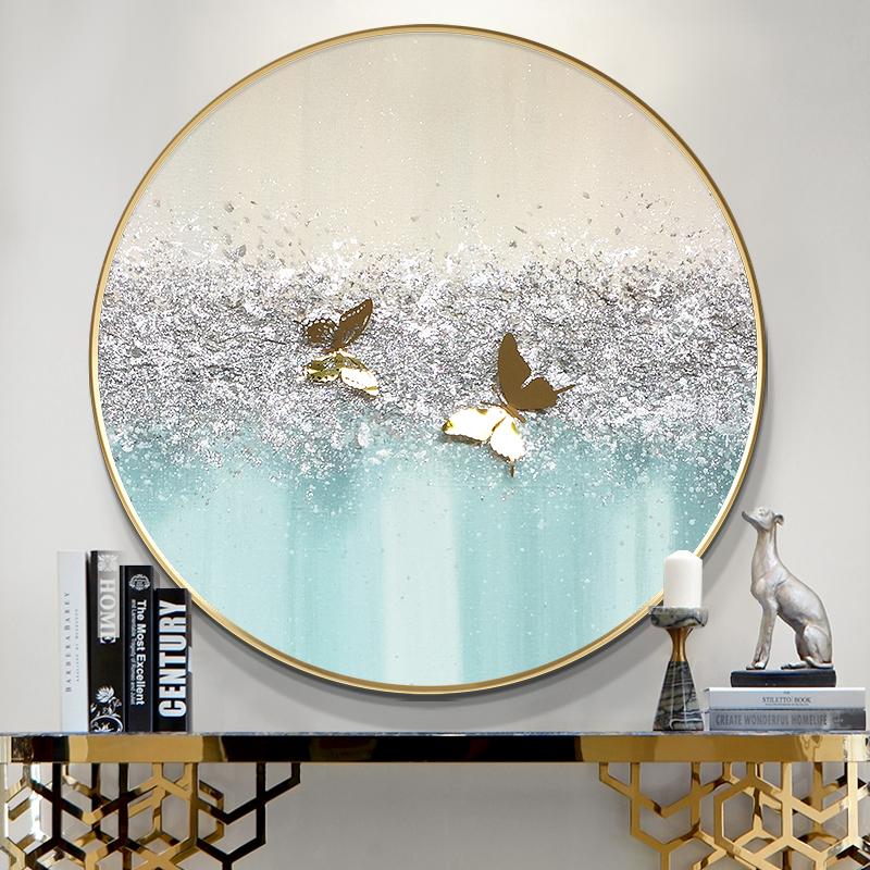 圓形實物蝴蝶油畫銀粉工藝純手繪簡約現代輕奢北歐客餐廳裝飾掛壁
