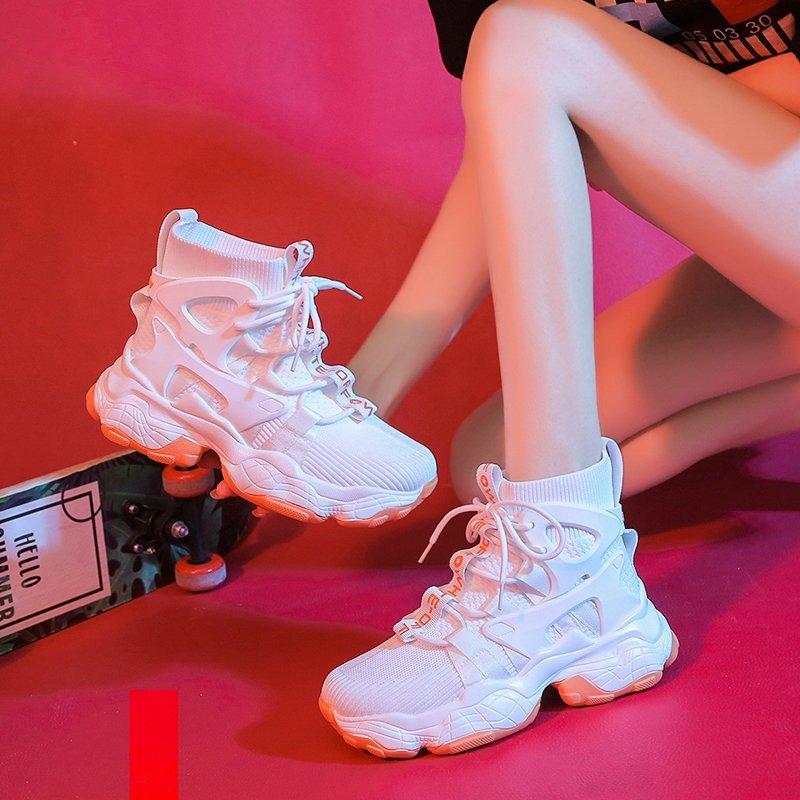 高帮袜子女鞋2021春季新款百搭增高休闲运动小白鞋女ins潮老爹鞋