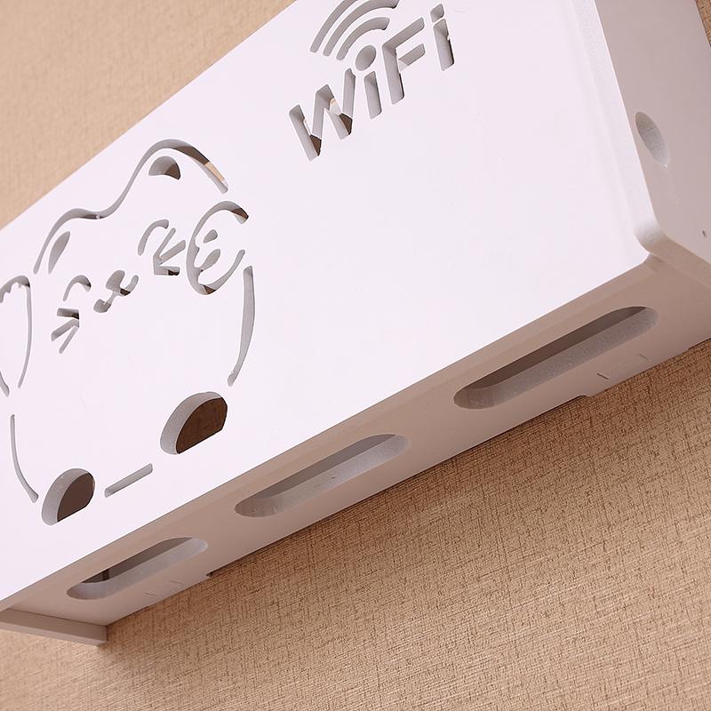 无线路由器收纳盒壁挂WiFi置物架猫装饰免打孔遮挡箱机顶盒架子