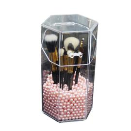 亚克力化妆刷桶透明防尘带盖美妆刷筒眉笔彩妆粉刷桌面刷具收纳桶