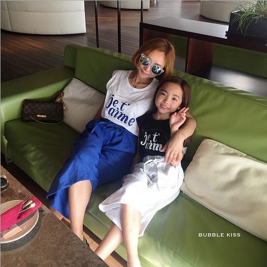 親子裝母女母子韓國童裝夏裝韓版男女童短袖T恤+闊腿褲兒童兩件套