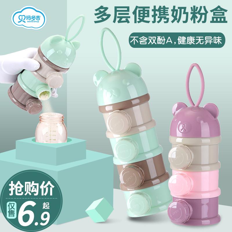 婴儿装奶粉盒便携式外出辅食宝宝分装小号米粉盒密封奶粉格储存罐