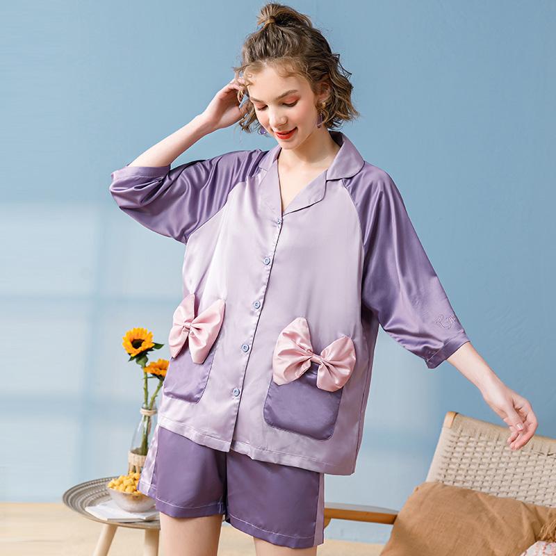 芬腾玛伦萨睡衣女夏短袖冰丝套装可爱新款公主风夏季家居服两件套