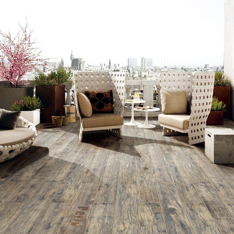 金意陶瓷砖 地砖客厅餐厅卧室地板砖仿古砖仿实木纹砖 老船木