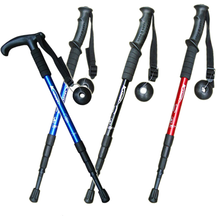 戶外超輕鋁合金 登山杖 T柄直柄 徒步爬山手杖健走杖四節伸縮便攜