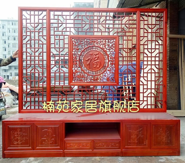 东阳木雕 中式客厅电视柜背景墙 实木镂空花格 仿古门窗隔断屏风