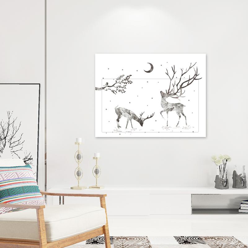立体简约北欧装饰画客厅墙贴画自粘 3d 遮挡电表箱贴纸多媒体集线盒