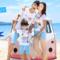海边沙滩qzz亲子装韩版三口夏装2018款纯棉短袖t恤母子母女装套装