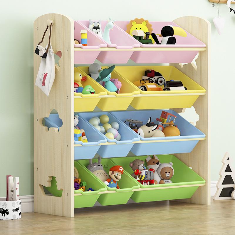 兒童實木玩具收納架幼兒園多層分類箱柜寶寶宜家收納神器簡易家用
